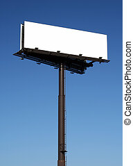 Blank billboard against a blue sky. The sign itself has been...