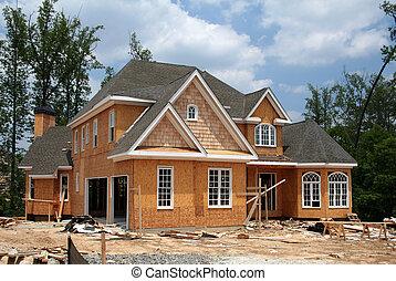 nuevo, hogar, todavía, debajo, construcción