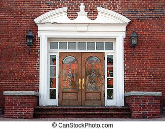 antigüedad, doble, dirigido, vidrio, puertas