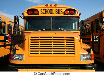 Yellow school bus - The front view of a yellow public school...