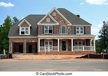 nuovo, casa, sotto, costruzione