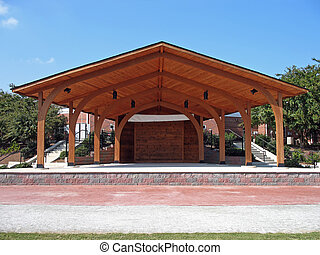 Amphitheater - Wooden outdoor stage or amphitheater in a...