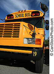 Yellow school bus - A public school bus with a deep blue sky...