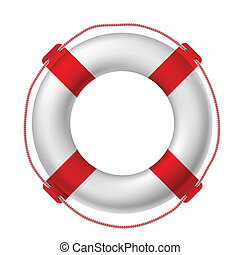 White life buoy, vector illustration.