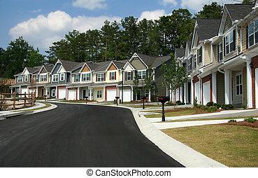 Un, fila, nuevo, townhomes, o, condominios