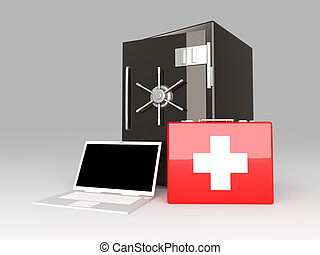 Laptop Security suite. 3D rendered Illustration. Unbalanced...