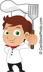 Young male chef holding a frying spoon.
