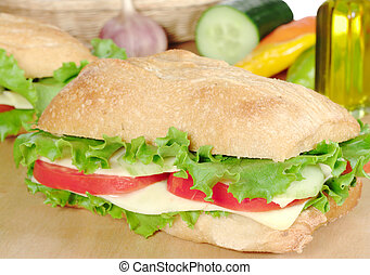Cheese Sandwich with lettuce, tomatoes and cucumber