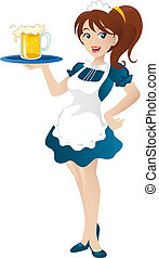 Cartoon illustration of a beautiful sexy waitress standing...