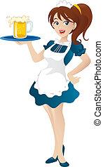 caricatura, Ilustración, hermoso, Sexy, camarera,...