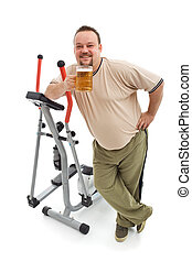 Overweight man having a beer after working out - isolated...