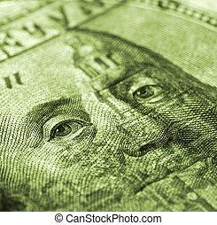 Hundred dollar bill macro shot - money detail background