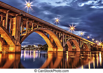 Bridge at Twilight - Broadway Bridge in Saskatoon, Canada...