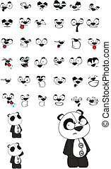 panda bear plush cartoon set in vector format