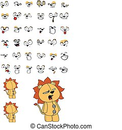 lion plush cartoon set in vector format very easy to edit