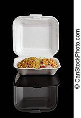 Kinesisk, take-away, food:, stekt, ris, kung, räkor,...