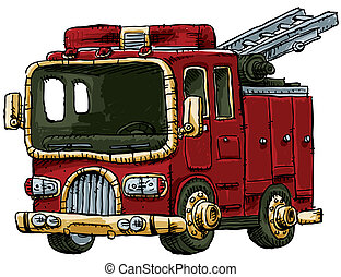 Fire Engine - A cartoon fire engine