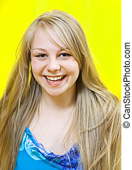 long-haired blonde girl - emotional caucasian long-haired...