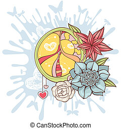 peace symbol background - abstract peace symbol with flowers...