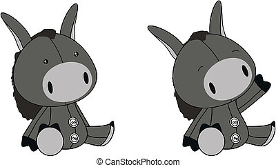 donkey plush cartoon in vector format