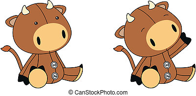 bull plush cartoon in vector format