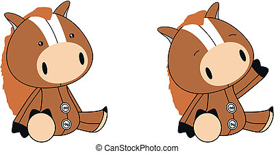 horse plush cartoon in vector format