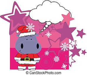 hippo cartoon xmas card in vector format