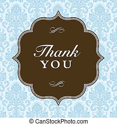 Vector Square Thank You Frame and Background - Vector ornate...