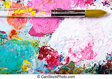 Color palette with brush - colorful color mixing palette...