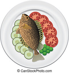 fish and vegetables on a plate - cooked fish and raw...