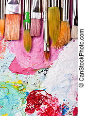 Color palette with many brushes - colorful color mixing...