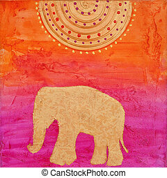 Elephant painting - collage style elephant painting, artwork...
