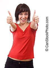 Happy woman - Portrait of happy woman pointing with both...