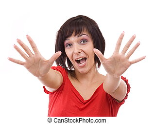 young woman - Portrait of excited young woman pointing with...