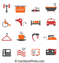 Hotel or accommodation icons - Hotel or accommodation icon...