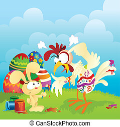 Angry chicken and Easter bunny cartoon. Lots of spacing for...