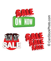 sale signage in 3d on white - signage for massive inventory...