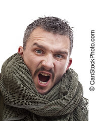 Angry terrorist, isolated in white