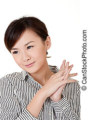 Cheerful Asian young business woman, closeup portrait on...