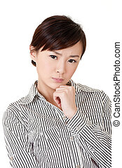 Worried business woman of young Asian lady, closeup portrait...