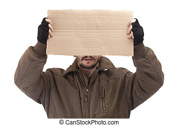 Beggar holding carton - A beggar holding carton suitable for...