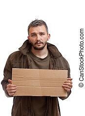 mendigo, segurando, caixa papelão