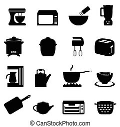 Kitchen utensils and items in black