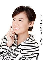Happy smiling business woman with phone, closeup portrait on...