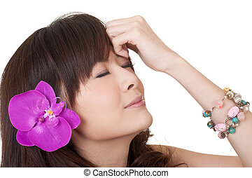 Asian woman with flower