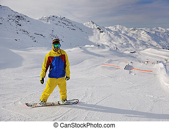 man winter snow ski - happy young man have fan while...
