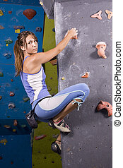 young, athletic girl climbing - Pretty, young, athletic girl...