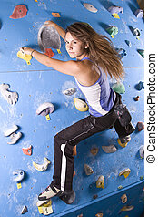 athletic girl climbing - Pretty, young, athletic girl...