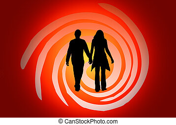 It is love... - Silhouette of the guy and the girl. A...