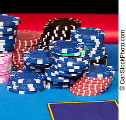 Gambling chips - Set of gambling chips on poker table